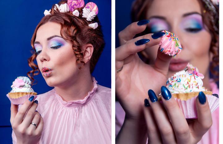 макияж голубой и розовый